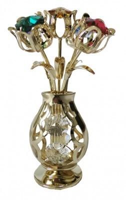 VAAS MET BLOEMEN Swarovski® Crystals - 24 K Verguld