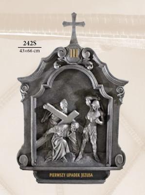 Kruisweg Zilverkleur 43 x 66 cm  Kunststof