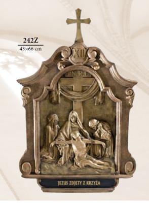 Kruisweg Bronskleur 43 x 66 cm  Kunststof