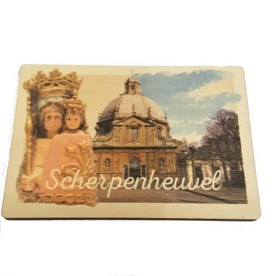 Magneet Scherpenheuvel  8.5 x 6 cm in hout
