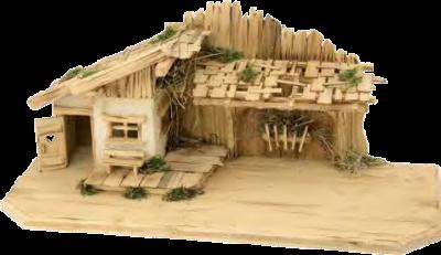 Kerststal LECH 69.5 x 29  x 30 cm voor 9 tot 11 cm figuren