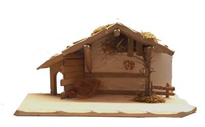 Kerststal HIRSCHLING 55x27x27 cm   voor 15 cm figuren