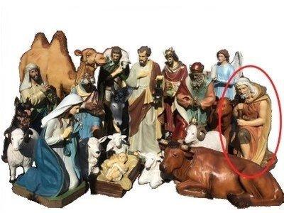 Herder met stok geknield KER-ELM280-160-11