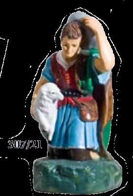 Herder met hoed geknield en schaap KER-ELM307-55-21