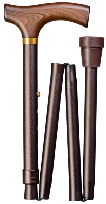 Plooibare wandelstok bruin 85 cm - 95 cm