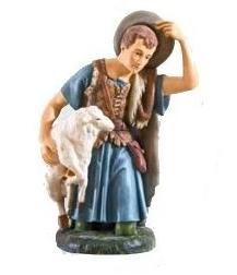 Herder geknield met schaap KER-ELM303-85-22