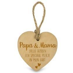 Papa en Mama  - Houten Engeltje met Koordje     15 x 2.5 x 20 cm   € 1.99