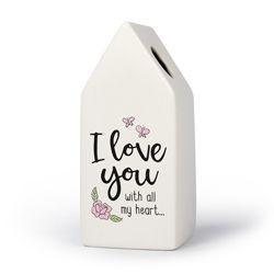 Love - Huisvaasje in porselein 6.6 x 6.5 x 15 cm