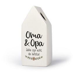 Opa & Oma - Huisvaasje in porselein 6.6 x 6.5 x 15 cm