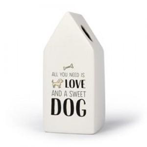 Hond - Huisvaasje in porselein 6.6 x 6.5 x 15 cm