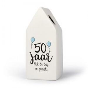 50 jaar - Huisvaasje in porselein 6.6 x 6.5 x 15 cm