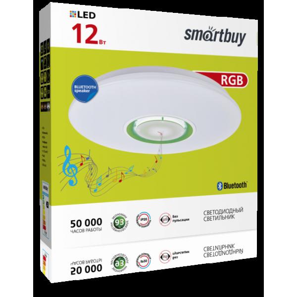 Светильник светодиодный управляемый Smartbuy управляемый св-к-люстра св/д 24W(1820lm) 5730SMD 4K+RGB 400х70 Bluetooth-динамик