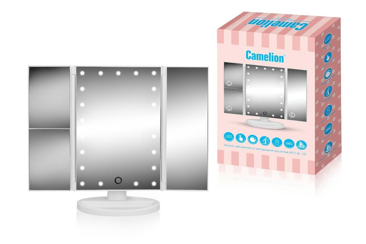 Зеркало настольное со светодиодной подсветкой Camelion M217-DL C01 св-к св/д зеркало 5W 6000K 4xLR03 (не в компл) сенсор/дим 345x280 стекло, USB