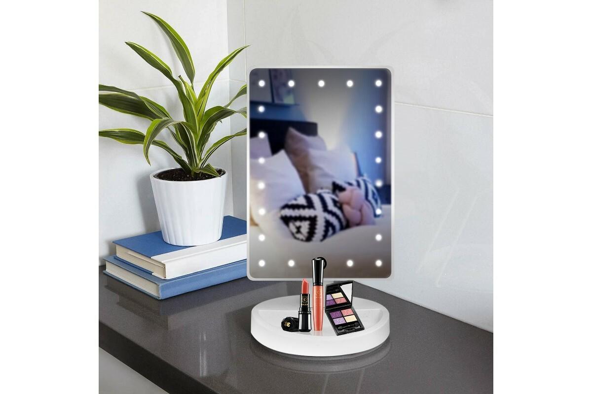 Зеркало настольное со светодиодной подсветкой золото