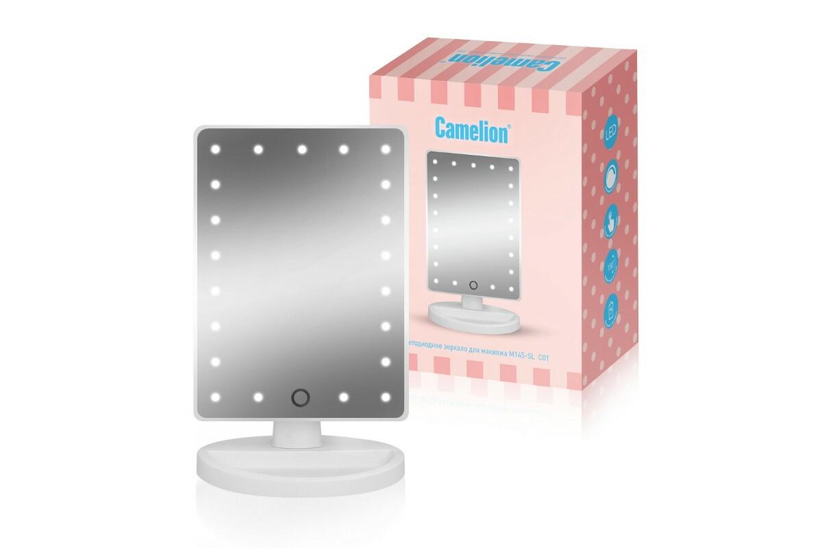 Зеркало настольное со светодиодной подсветкой золото M145-SL C01 св-к св/д зеркало 5W 6000K 4xLR6 (не в компл) сенсор/диммер 270x165x120 стекло