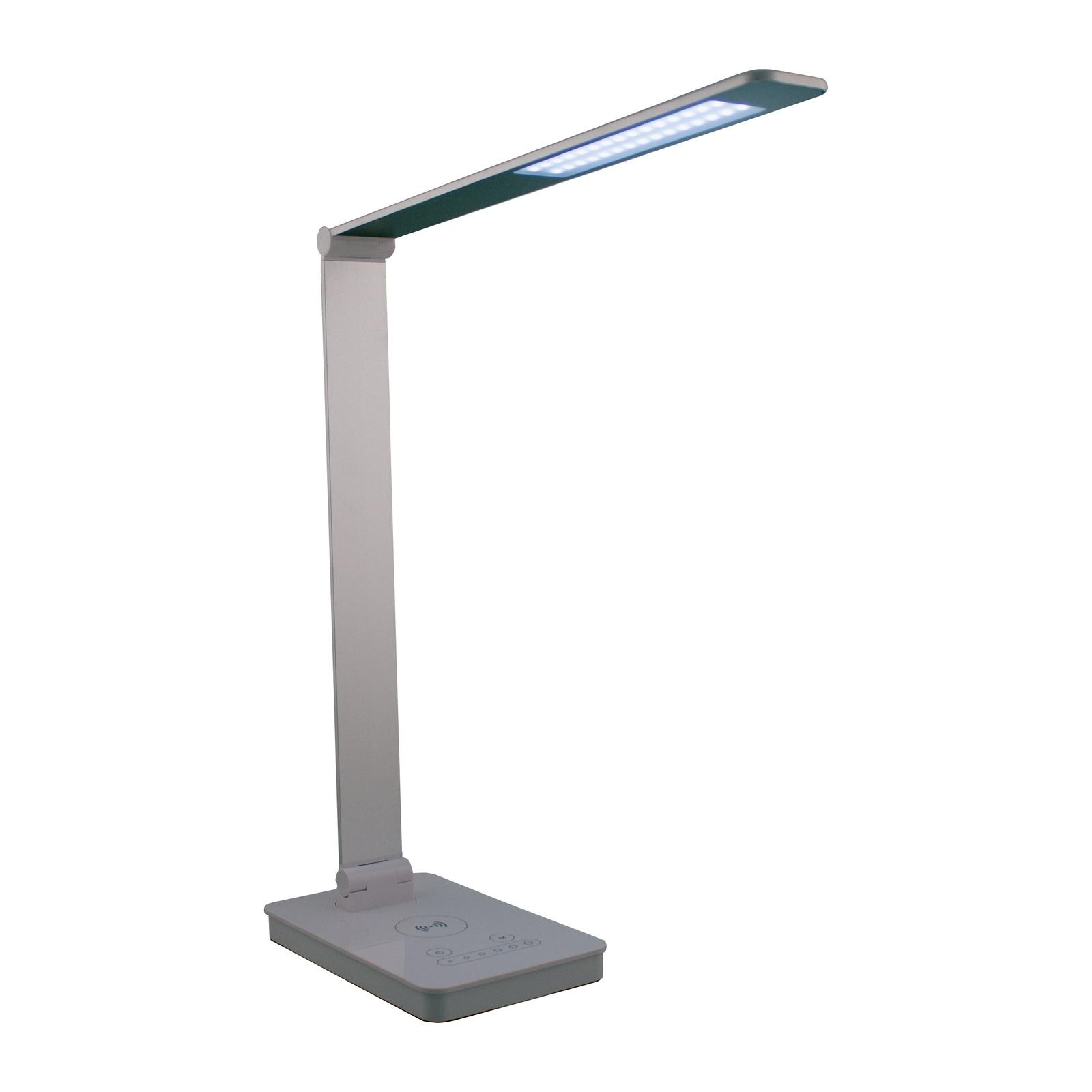 Настольная лампа светодиодная СТ72 св-к настольный св/д 10W(745lm) сенсор/дим-р, USB, беспроводное з/у для моб.устр, серебр