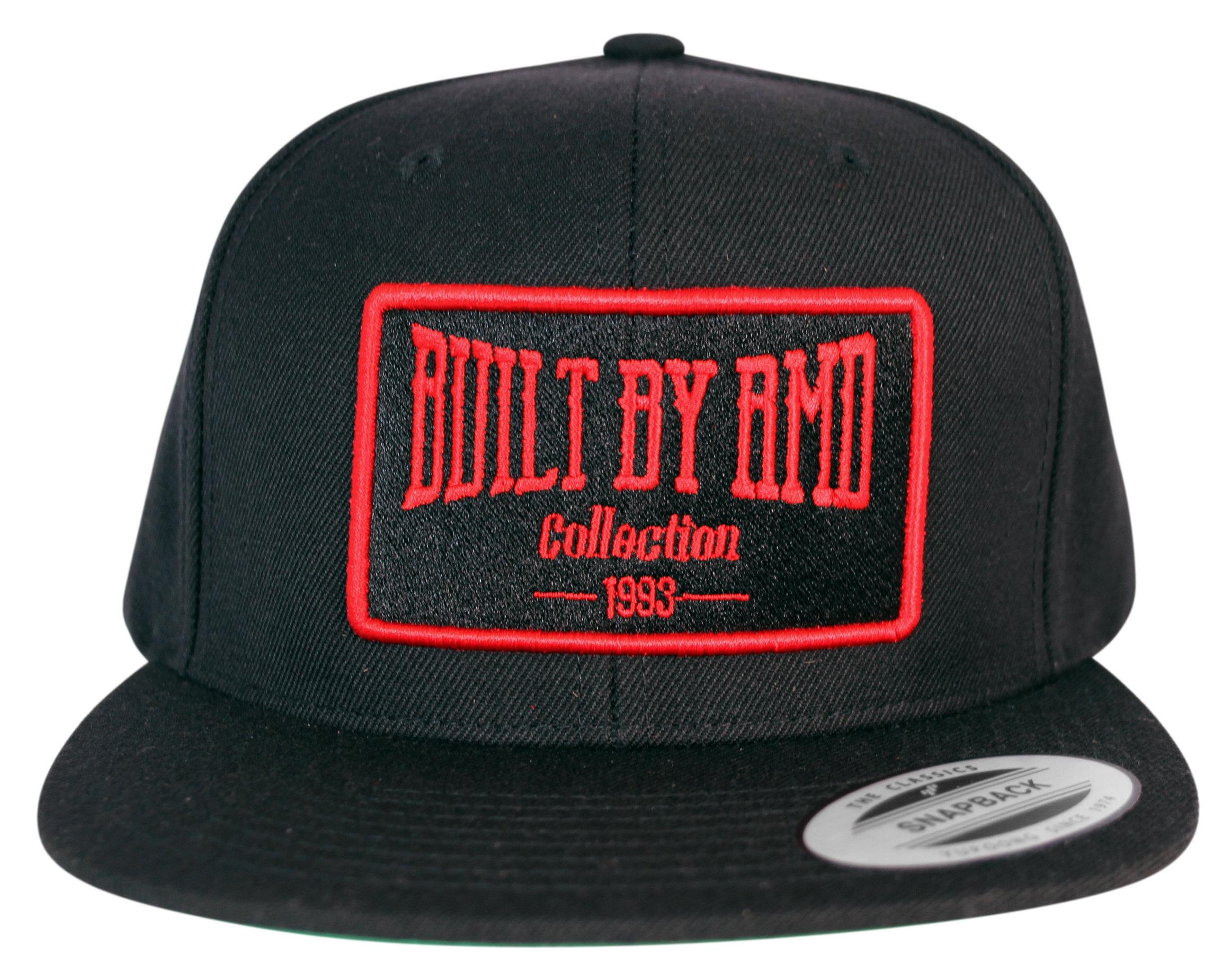 Built By RMD Cap  Red on Black Snap Back 001R1800SBR