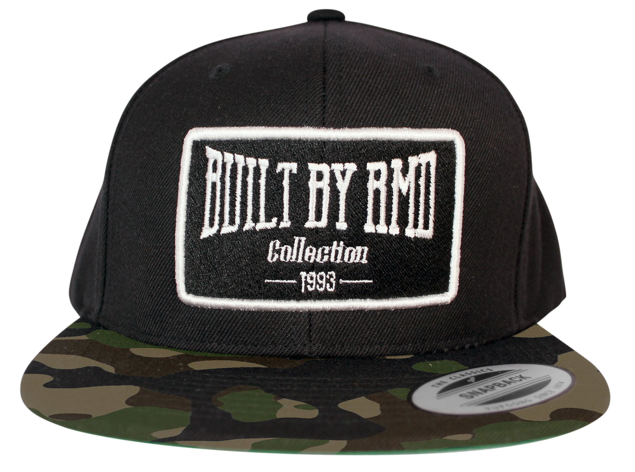 Built By RMD Cap  White on Black/Camo Snap Back 001R1800SBCA