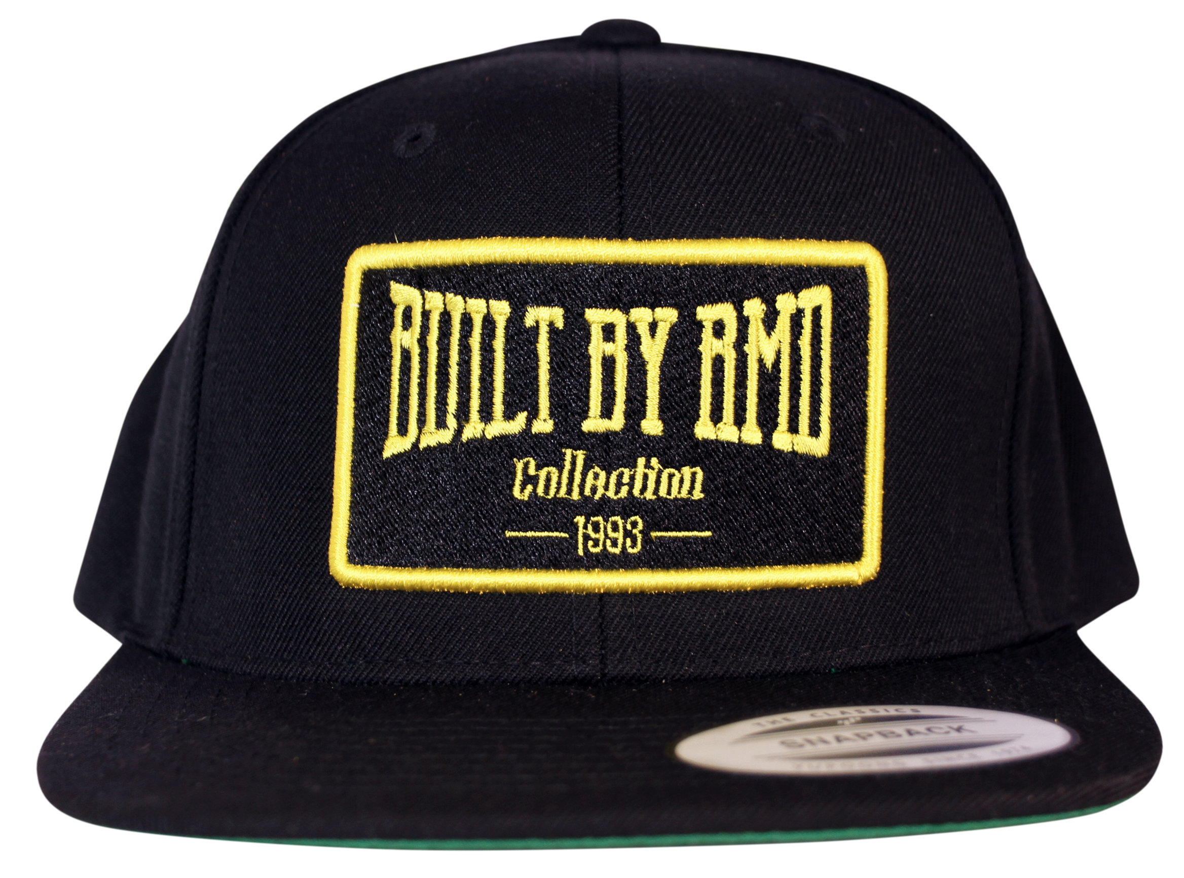 Built By RMD Yellow on Black Snap Back