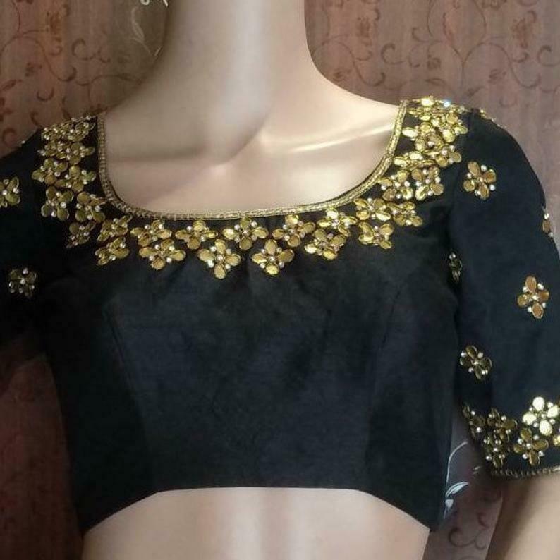 Beautiful Gota Patti Blouse in Black Color - Party Wear Saree Blouse - Black Blouse 102