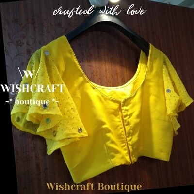 Party Wear Collection |  Designer blouse with bell sleeves with mirror work | Blosue Design 170