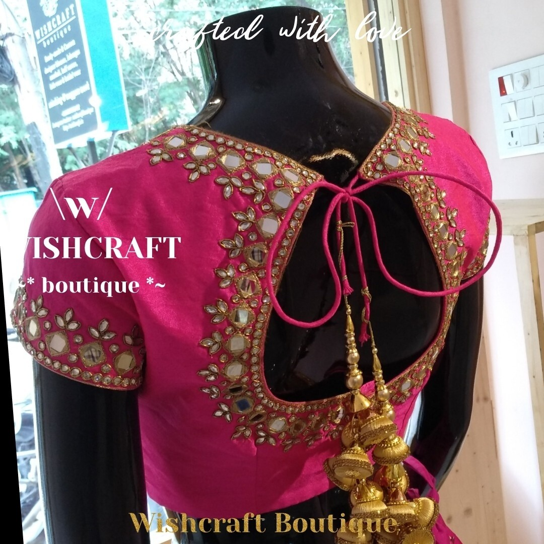 Trendy Mirror Work Blouse in Pink - Blouse Design 169