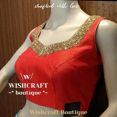 Designer Kundan Work Blouse in Red color - Saree Blouse Design 176