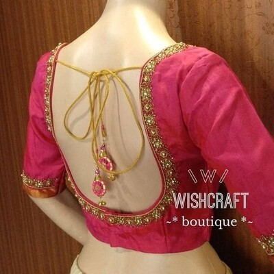 Trendy Party Wear Blouse with beads handwork - Saree Blouse Design 197 - Free delivery