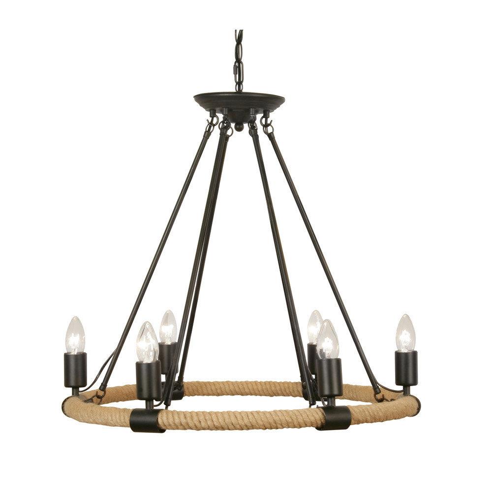 new product 7b04f 8e085 Oaks Corde 6 Light Rope & Matt Black Fitting