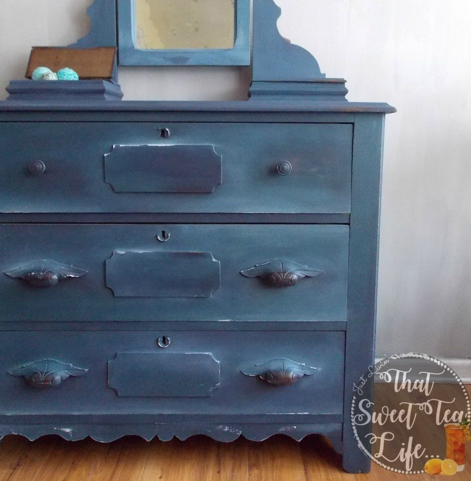 Blue Shaded Antique Chest