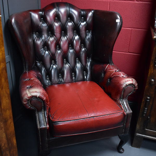 Leather Wing Back Chairs. Ox Blood Red Leather Wing Back Chair Chairs