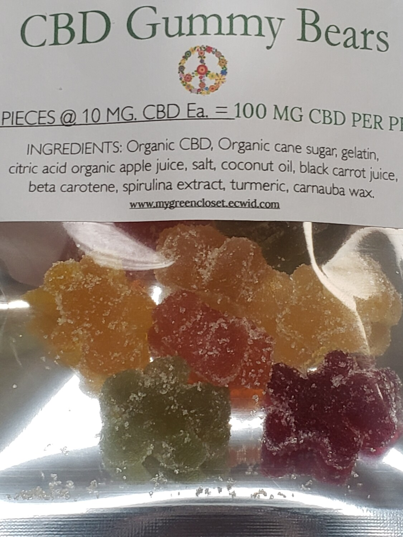 Yummy Gummies   10 gummy bears at 10 mg per bear, total pkg. = 100mg cbd