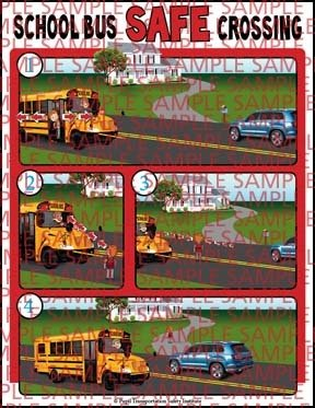 School Bus Safe Crossing Sticker for inside the School Bus (UPDATED)