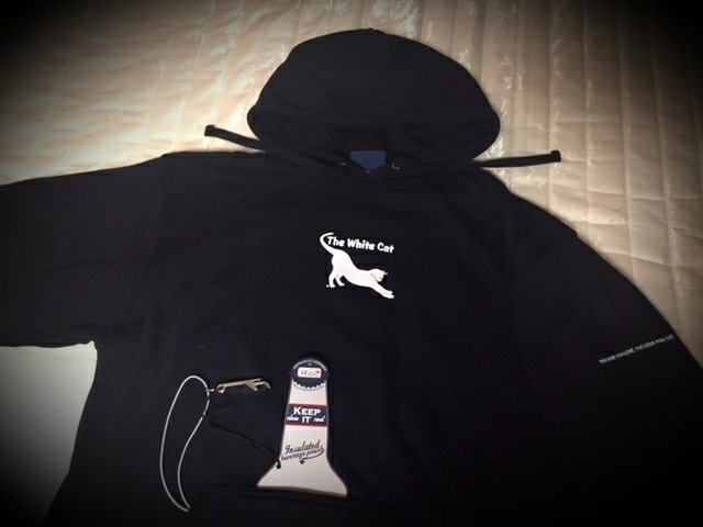 2.0 Hoodie Sweatshirt w/bottle opener and insulated beverage pouch. Awww yeaaah.