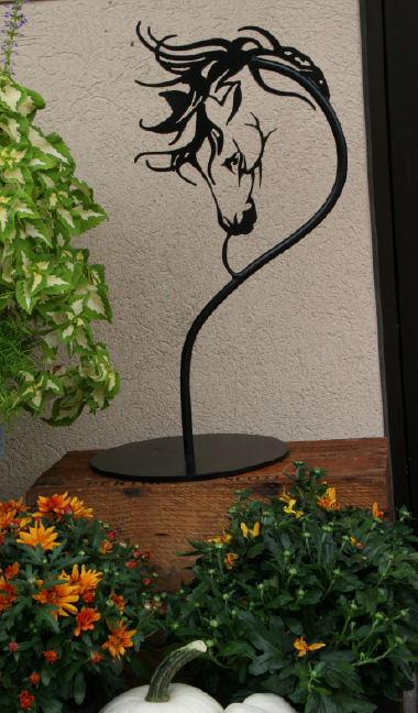 "18"" Black Horse Head Sculpture"