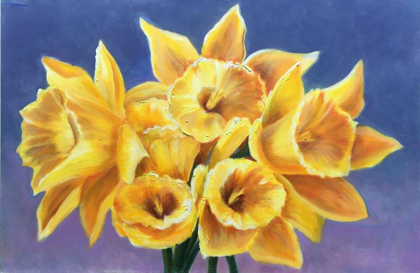 "Daffodils I - 20""x16"" print on canvas 00002"