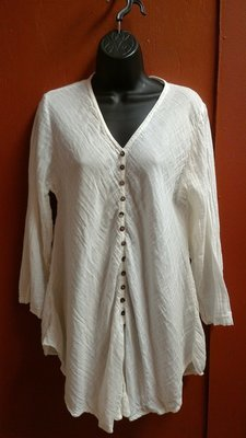 Front Button Long Sleeve Tunic