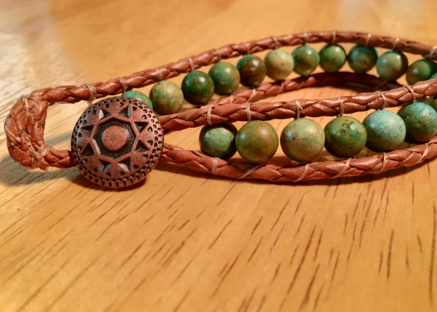 Turquoise Leather Boho Copper
