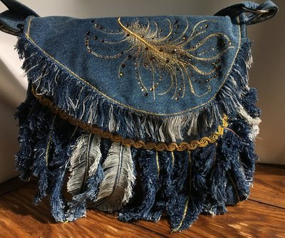Denim feathered shoulder bag