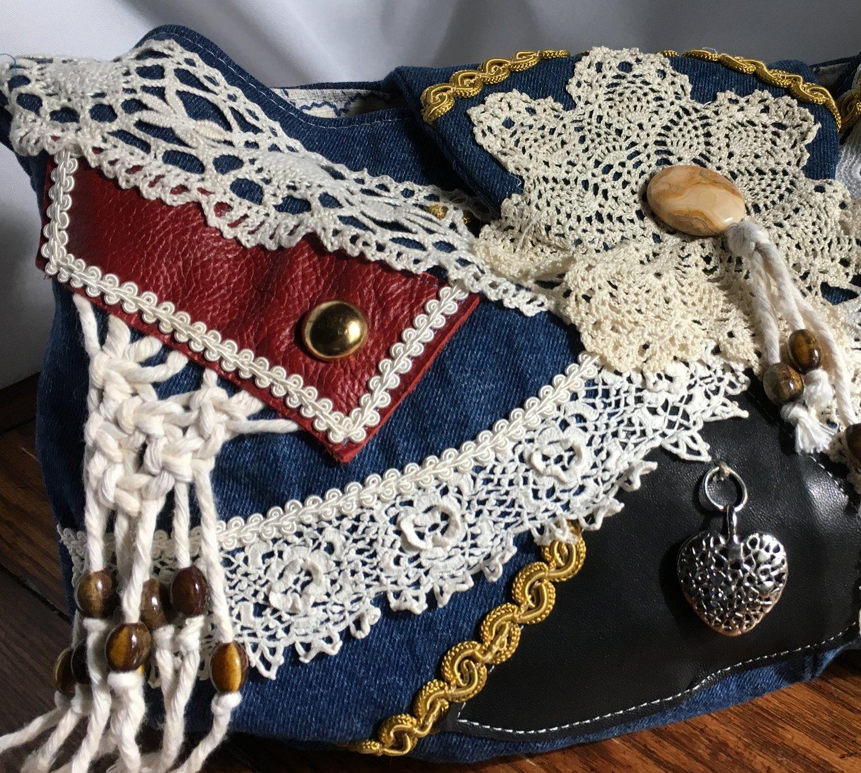Denim & Lace Boho Hobo Bag