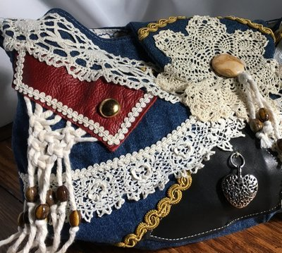 Denim & Lace Boho Hobo Bag
