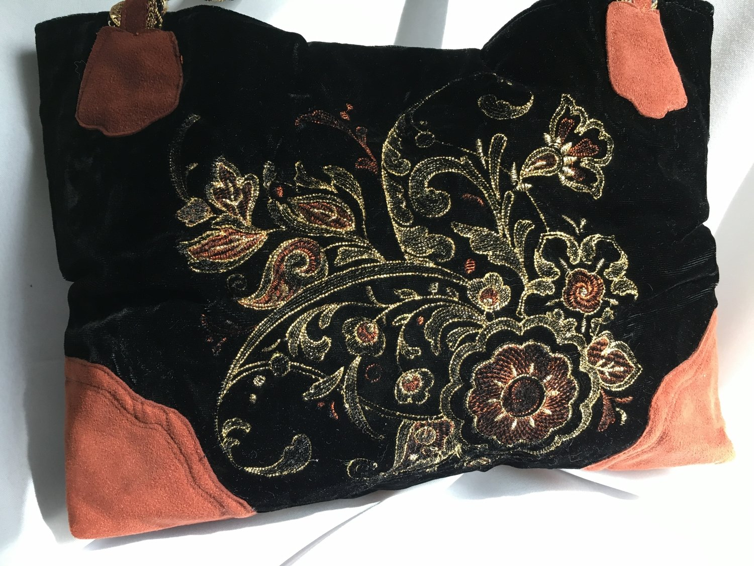 Gold Silver Copper Embroidery on Black Velvet Bag
