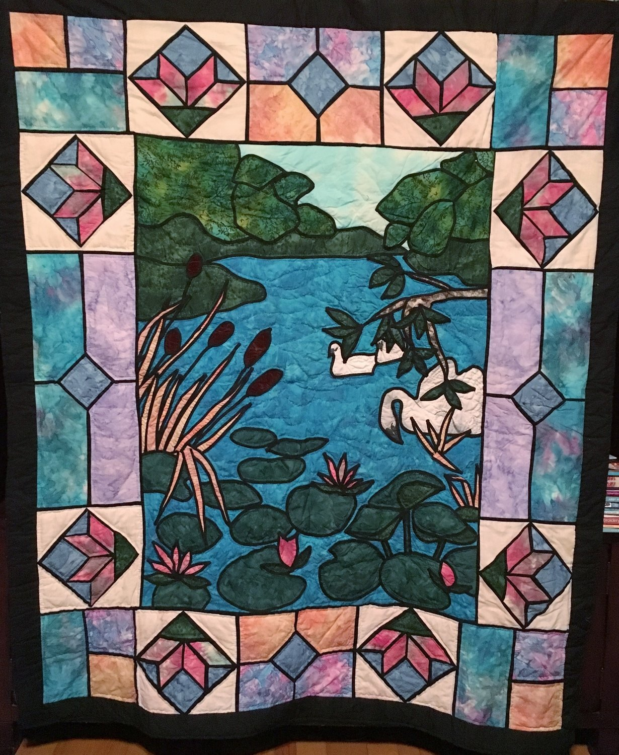 Swan Pond Stained Glass Quilt Throw- Wall Hanging