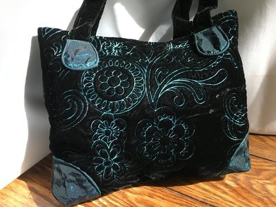 Black Velvet & Taffeta Embroidered Bag