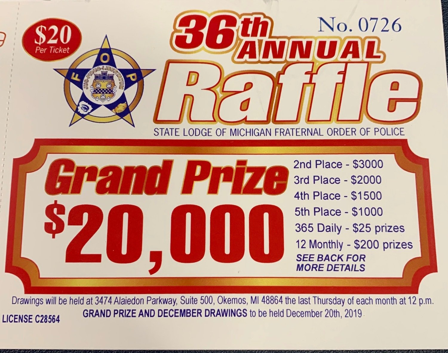 2019 Michigan FOP State Raffle