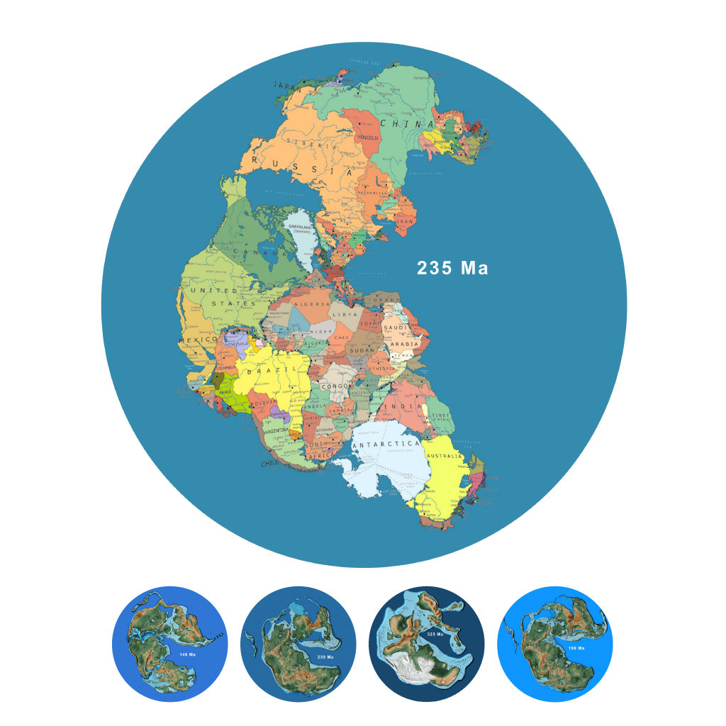 Dual Pangaea Globe with Options on map earth's, map of the world, world globe, printable globe, topographic map, mappa mundi, thematic map, map of the volcano,