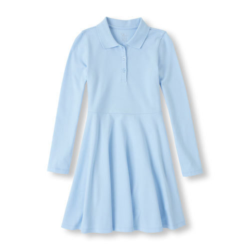 Girls Long Sleeve Polo Uniform Dress with School Monogram (For Girls in all grades, Mandatory style for girls in Grades 4-8)