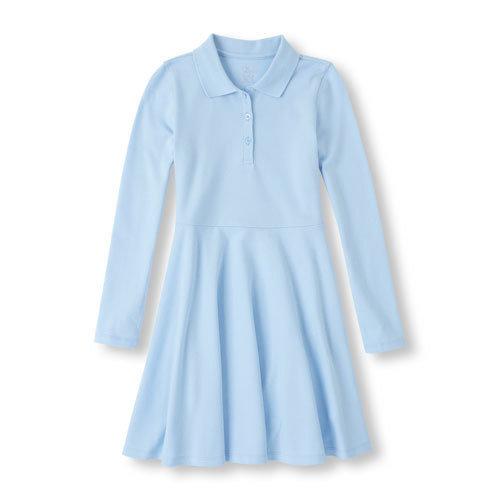 Long Sleeve Polo Uniform Dress with School Monogram