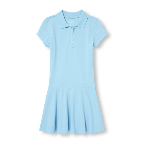 Girls Short Sleeve Polo Dress French Toast with School Monogram(only Dk to Grade 3)