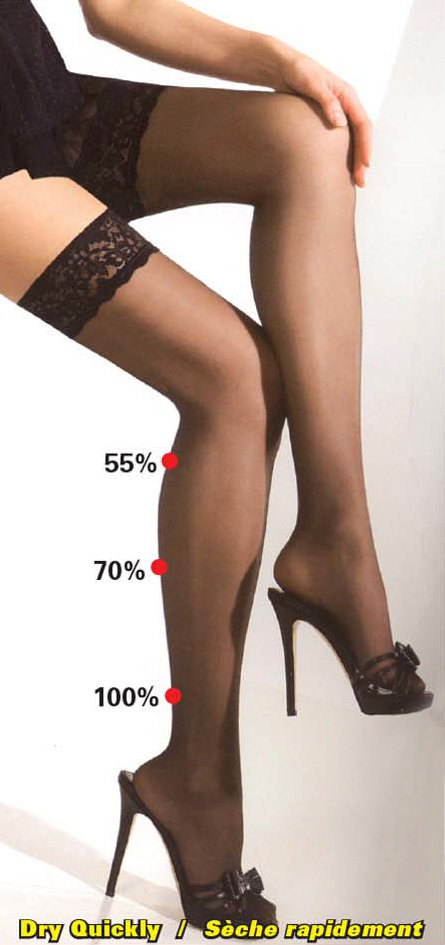 Spécial #1075s 3PRS. X $55.00 Bas Élastique à la Cuisse Support moyen (15-20mmHg) Thigh Elastic Stocking medium support.